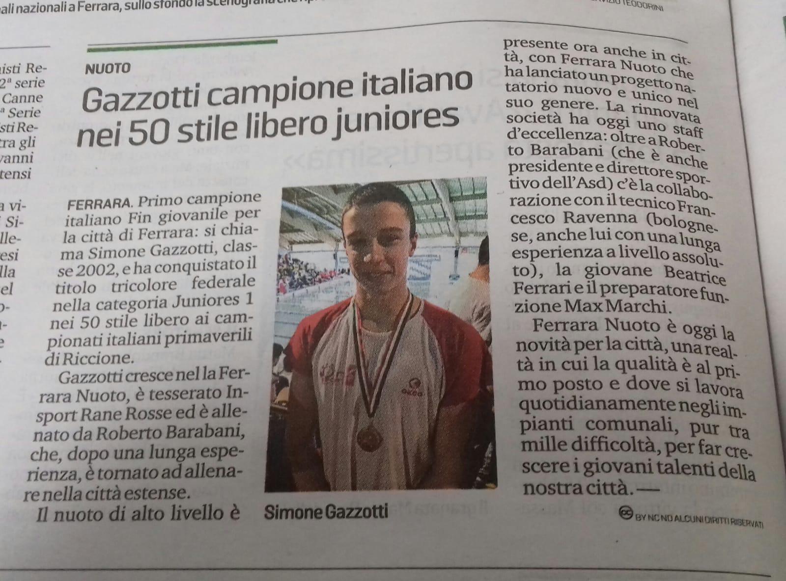 La Nuova Ferrara e Il Resto del Carlino celebrano il successo di Simone Gazzotti ai Campionati Italiani