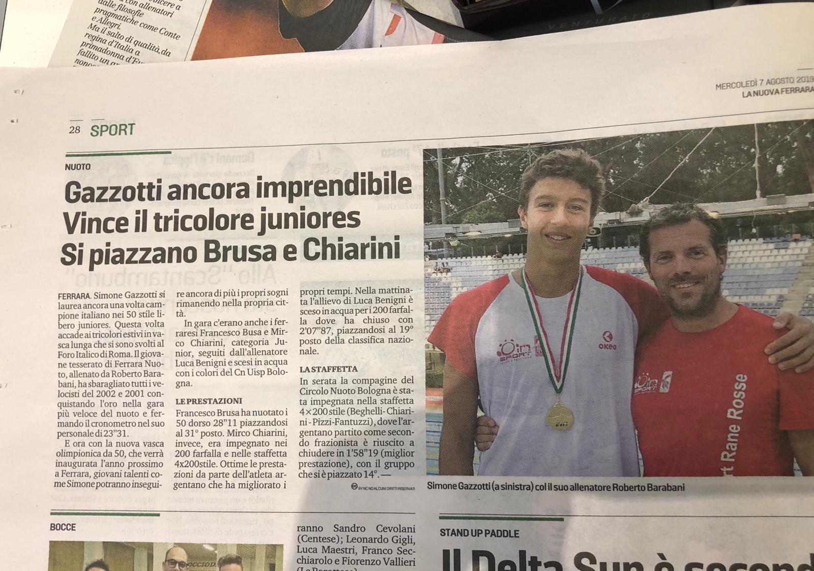 Simone Gazzotti campione italiano di categoria nei 50 stile libero!