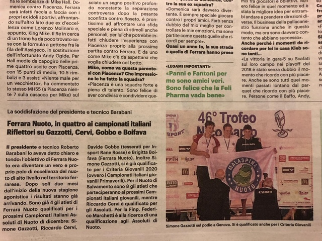Ricomincia la stagione: Ferrara Nuoto e in 4 ai Campionati Italiani